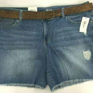 Style & Co Mid-Rise Distressed Denim Shorts Sz 18